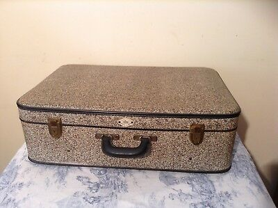 FRENCH VINTAGE LARGE SUITCASE - Mulitcoloured Hardshell Fibroc Case (2278)