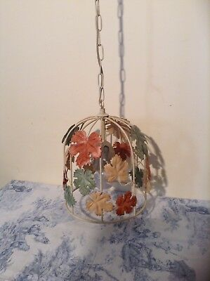French/Italian Style Autumn Leaves Tole Birdcage Ceiling Light Toleware (1916)