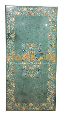 3'x6' Green Marble Dining Coffee Table Top Mosaic Inlaid Floral Marquetry H406