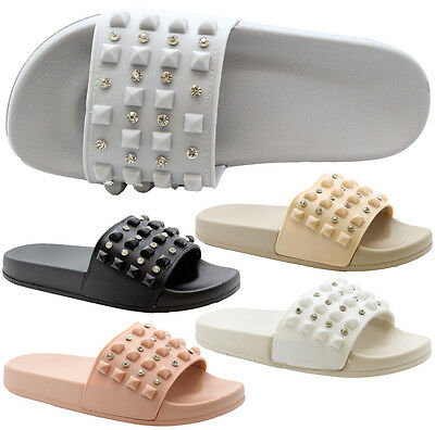 Ladies Womens Summer Celebs Studded Diamante Sliders Mules Sandals Slipper Shoes