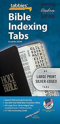 Large Print Bible Indexing Tabs 7 to 12 inches Attractive Silver edges 58344 NEW