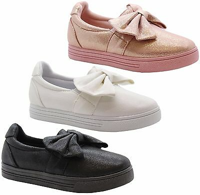 Girls Kids Children Flat Bow Shimmer Pumps Sneaker Plimsolls Shoes Trainers Size