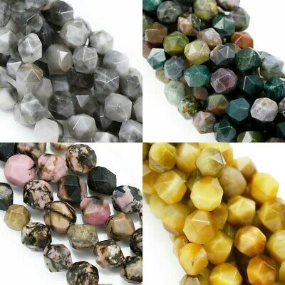 8 mm Faceted Nugget Star Cut Semi-precious Gemstone Beads for Jewellery Making