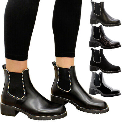 Ladies Women Chunky Goth Punk Block Heels Studded Chelsea Ankle Boots Shoes Size