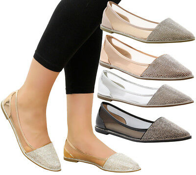 Ladies Womens Flats Casual Party Office Summer Diamante Loafers Pumps Shoes Size