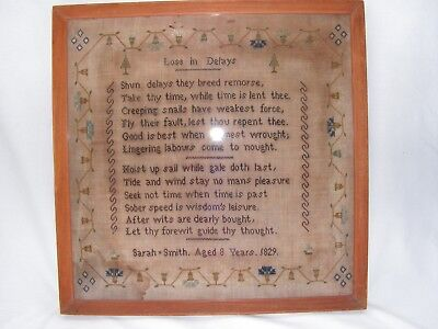 """Antique William Iv Embroidered Sampler By Sarah Smith 1829  """"loss In Delays"""""""