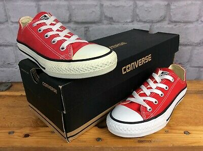 Converse All Star Youth Red Canvas Lo Oxford Trainers Various Sizes Boys Girls