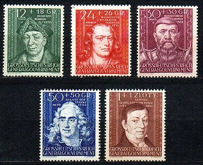 Germany / Generalgouvernement - 1944 Personalities Mi. 120-24 MNH