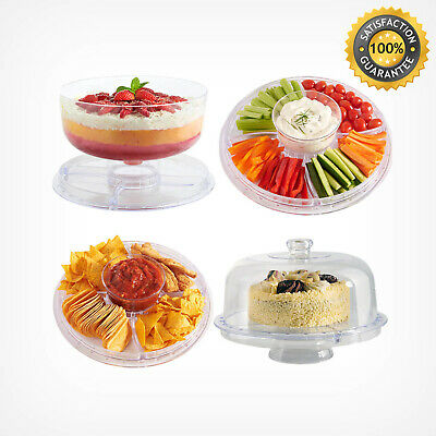 Multi-Function Cake Dome Display Stand Chip & Dip Platter Punch Salad Bowl Set