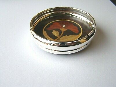Silver Wine Coaster With Inlaid Rosewood Base. Hallmarked Silver Bottle Coaster