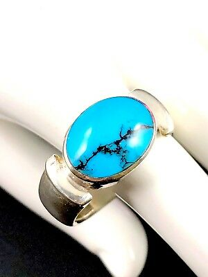 Striking Signed 925 Sterling Silver Oval Turquoise Southwest Style Ring Size 10