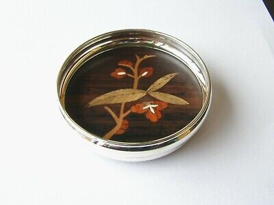 Silver Bottle Coaster With Inlaid Rosewood Base. Hallmarked Silver Wine Coaster