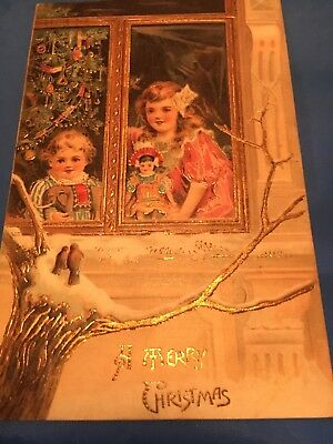 Antique Victorian Christmas Cards Great Art! Children At Window With Toys! Pics!