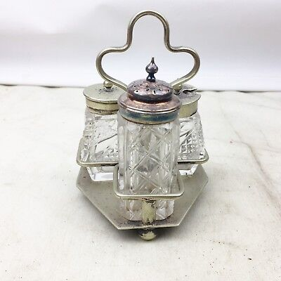 Antique Silver Plated Cruet Cut Glass Salt Pepper Mustard Set