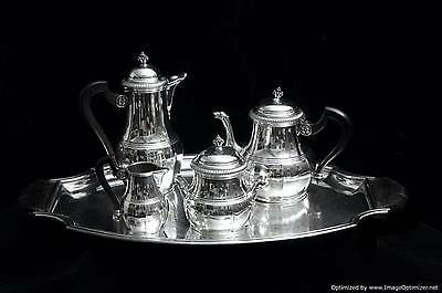 Art Deco French Sterling Silver Tea / Coffee Set, 1925, Tray + Wraps, 1900-1940