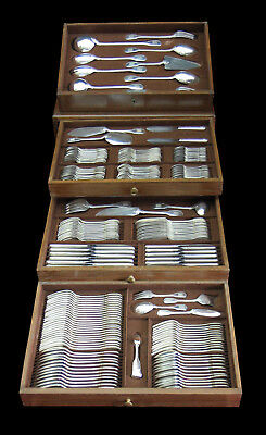 ART DECO FRENCH STERLING SILVER FLATWARE SET 201pc + STORAGE CHEST 1900-1940