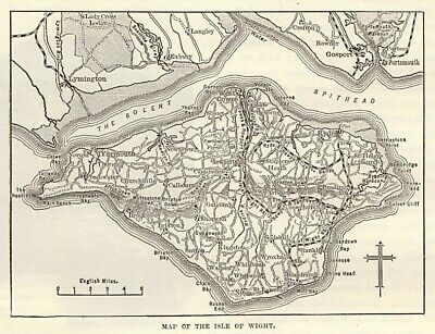 Map of Isle of Wight, antique engraving ready mounted for framing, 1880s SUPERB