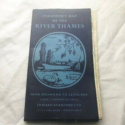 Vintage Stanford's Map of the River Thames from Richmond to Lechlade