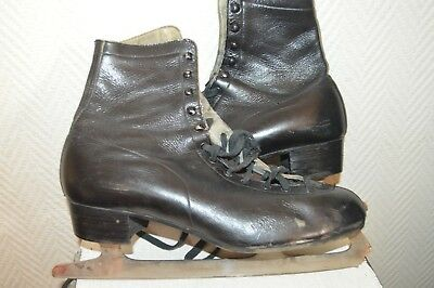 Patin A Glace Cuir Patinage Ours Skate Dance Leather Taille 44 Vintage 10