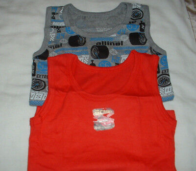 Two (2) Boys  Lovely Disney Cars Motif Vests Age 1.5 - 2 Years New