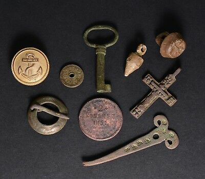 Artifacts lot Russian copper coin Navy WW2 Button, Key, Sakta, Cross, lead plumb