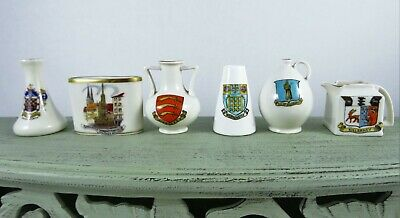 Vintage Goss Crested China Miniatures Lot Of 6 Germany England Ewers Vases