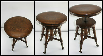 Antique Superb Solid Oak Adjustable Piano Organ Stool Eagle Claw Glass Ball Feet