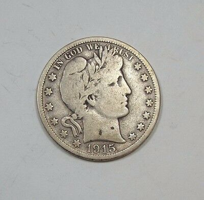 1915-D Barber Half Dollar VERY GOOD/FINE Silver 50c