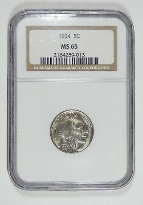 1934 Buffalo Nickel CERTIFIED NGC MS 65 5-Cents