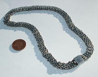 """Good Quality Antique Vintage Sterling Silver 16"""" 4 Fixed Strand Choker Necklace"""