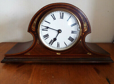 Vintage Mantle Clock Mother of Pearl Inlay Wooden Case converted - spares/repair