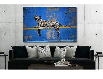 Banksy Bronx Zoo Leopard Blue Yellow Canvas Modern Home Art ~ 5 Size to Choose