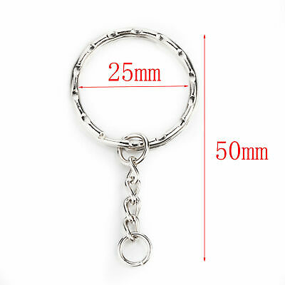 Silver Keyring Blanks Tone Key chains Key Split Rings 4 Link Chain (UK)