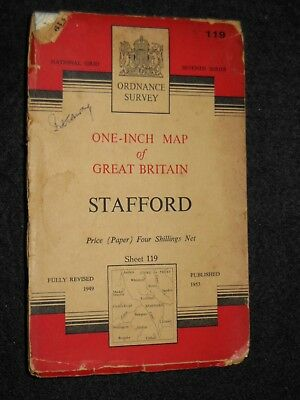 "VINTAGE ORDNANCE SURVEY 1"" MAP - Stafford - 1953 - Sheet 119 - Staffordshire"