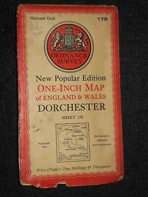"VINTAGE ORDNANCE SURVEY 1"" MAP - Dorchester - 1946 - Sheet 178 - Dorset Weymouth"