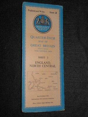 Vintage Ordnance Survey Map of England North Central c1952 - Sheet 2, Yorkshire