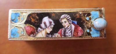 800 Silver Italy Enamel Lipstick Compact with Mirror Colonial Couple Portrait