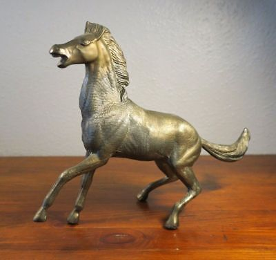Vintage Cast Metal Bronze? Brass? Horse with Patina Figurine Chinese?
