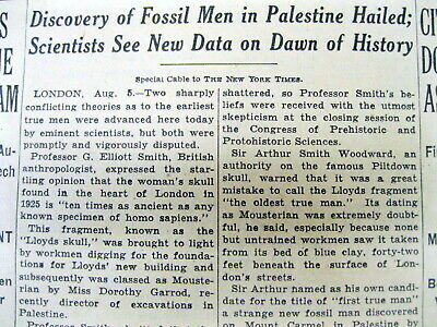 1932 NY Times newspaper Neanderthal GALILEE SKULL discovered in PALESTINE Israel