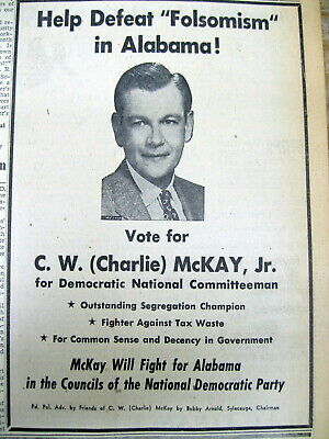 1956 AL newspaper AD Pro Racial Segregation DEMOCRATIC NATIONAL COMMITTEE member