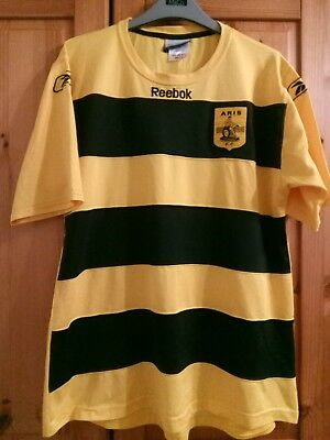 aris thessaloniki greece greek football large mans vintage reebok jersey shirt