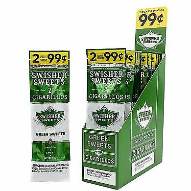 1 BOXES SWISHER GREEN SWEETS 2 In A Pouch 15 Pouches Total 30 Pcs