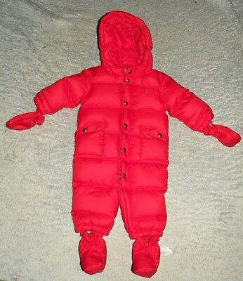 f289f538e Ralph Lauren Polo Red Puffer Down Bunting 1 Pc Winter Snowsuit baby Infant  6M