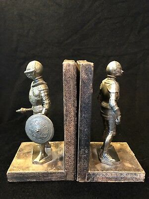 Vintage Metal Medieval Knights in Armor Embossed Leather Bookends