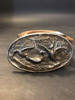 Vintage Adezy Denver Brass Belt Buckle & Leather Belt Ducks Game Birds Hunter