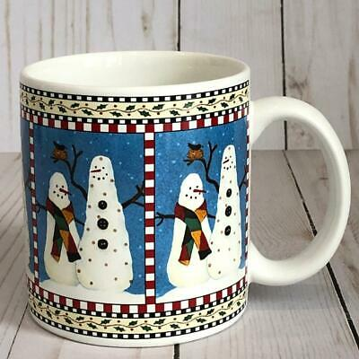Sakura SNOWMAN Mug 2 Snowmen No Hats & Bird Debbie Mumm Christmas Winter EUC