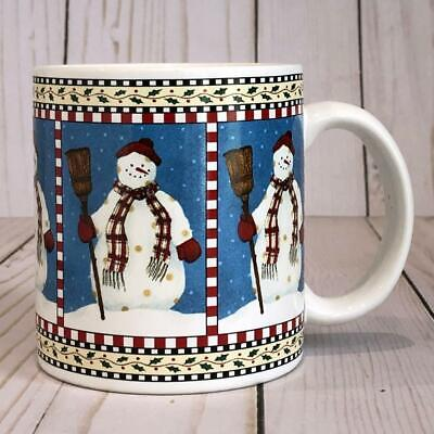Sakura SNOWMAN Mug with Hat & Broom Debbie Mumm Christmas Winter EUC