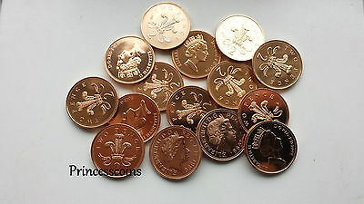 Selection Of 1982 To 2014 Uncirculated Gb English 2P Two Pence Coin Collection
