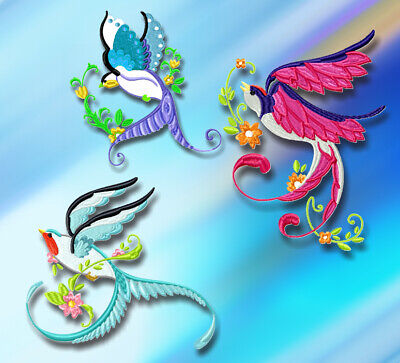 BEAUTIFUL BIRDS 20 MACHINE EMBROIDERY DESIGNS CD or USB