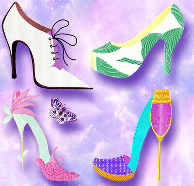 BEAUTIFUL SHOES  20 MACHINE EMBROIDERY DESIGNS CD or USB